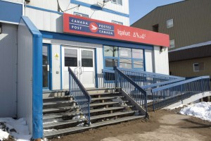 The post office is seen Saturday, April 25, 2015 in Iqaluit, Nunavut. THE CANADIAN PRESS/Paul Chiasson